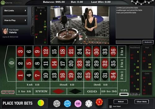 Live Roulette croupier en speeltafel